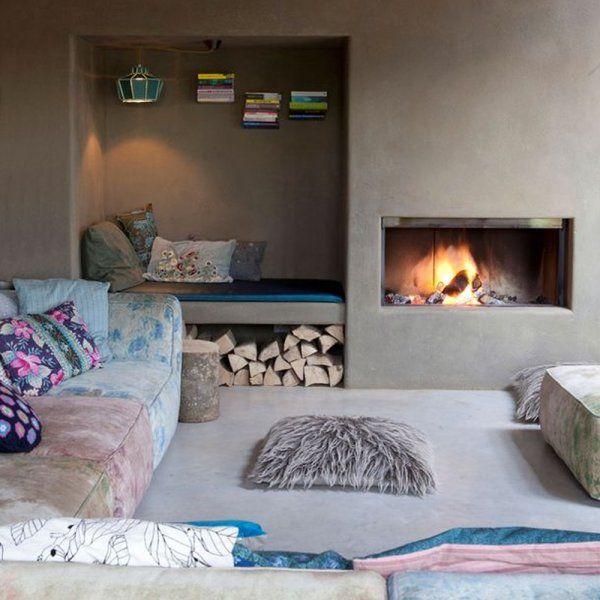 Un coin cheminée aux couleurs pastel