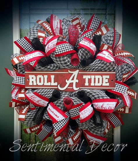 Alabama Wreath,Roll Tide Wreath,University of Alabama Wreath,Crimson Tide,Bama,Alabama Football Wreath,Deco Mesh Wreath,Tailgate Party Decor