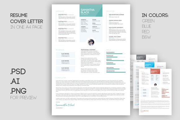 Resume template and cover letter by Knofe on @creativemarket