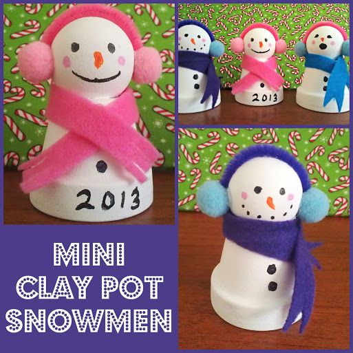 Mini Clay Pot Snowmen Craft #CIJ13 - such a cute kids craft for Christmas and easy to DIY
