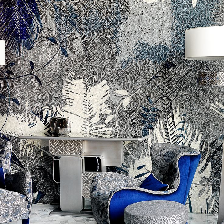 Our mosaic perfectly blends with our furniture, creating a living room that is a blue tropical forest. Discover our home collection.