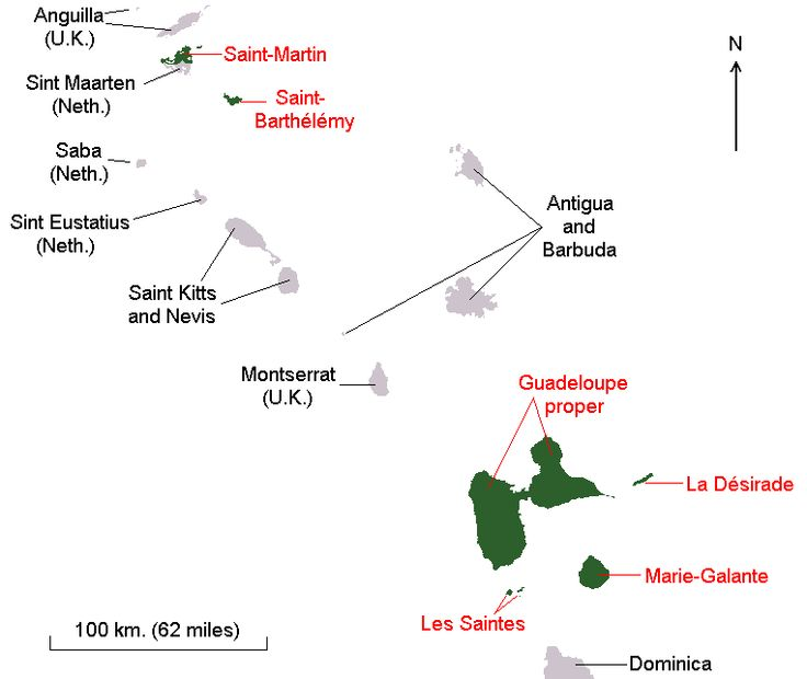 Map showing the former constituent parts of the Guadeloupe region/department among the Leeward Islands, including Saint-Martin, before February 2007.