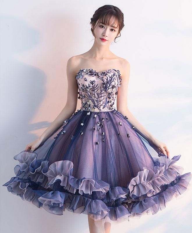 3215e517a3 Purple sweetheart neck tulle lace applique short prom dress ...