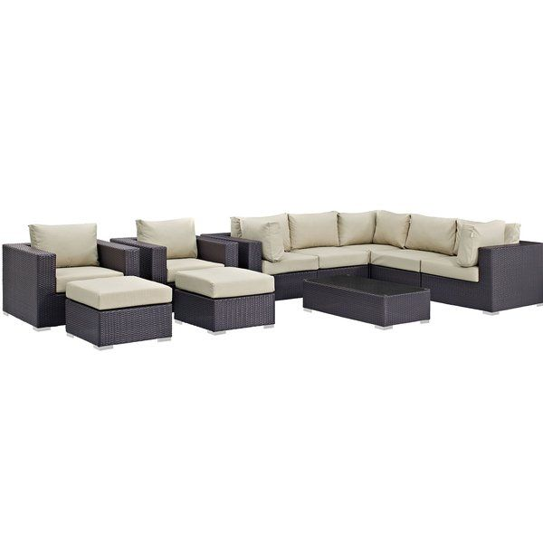 Brentwood 10 Piece Rattan Sectional Set With Cushions Dealepic Patio Sectional Conversation Set Patio Patio Furniture Sets