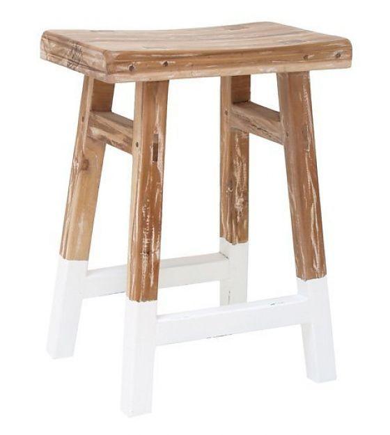 HK-living Kruk reclaimed teak hout met witte dip 25x42x54cm - lefliving.be