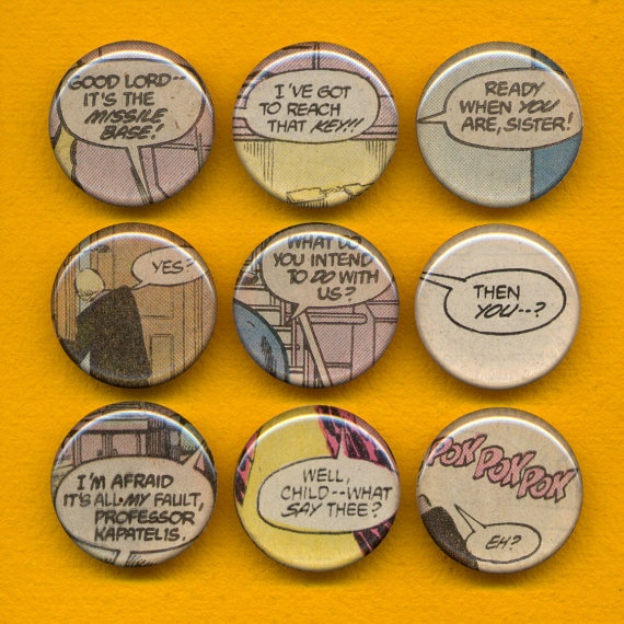 Comic word bubbles. Set of 9 magnets. $9.95.