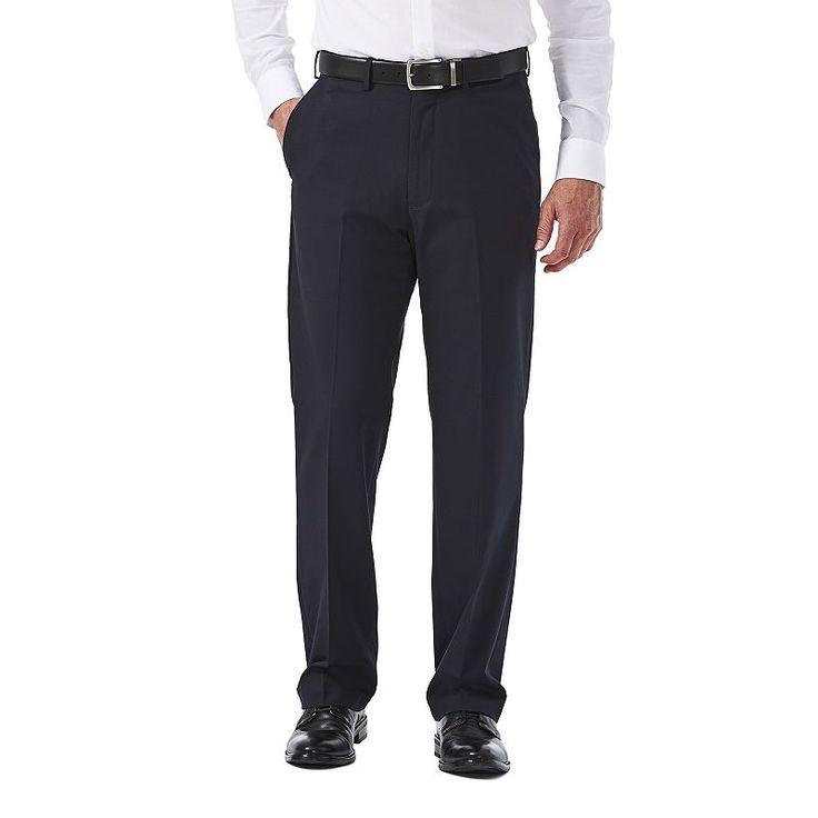 Big & Tall Haggar Premium Stretch Classic-Fit Plain-Front Dress Pants, Blue (Navy)