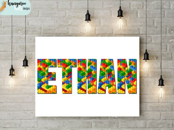 Lego inspired personalised letter wall art name by KangarooKidsDesigns