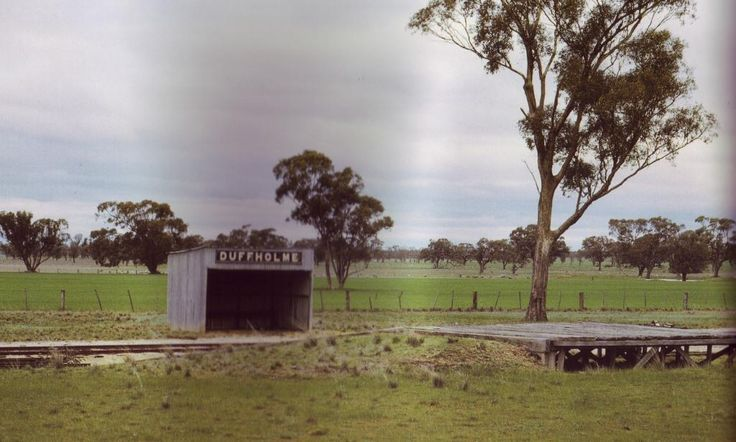 "Duffholme Siding in 1971 ((from ""VR stations  stopping places""). Kowree Shire approached Victorian Railways to rename the Nurcoung siding on the Carpolac line, only a gate post and scattered railway iron remain, next to Duffholme Rd."