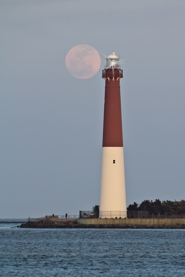 Barnegat Lighthouse and a full moon