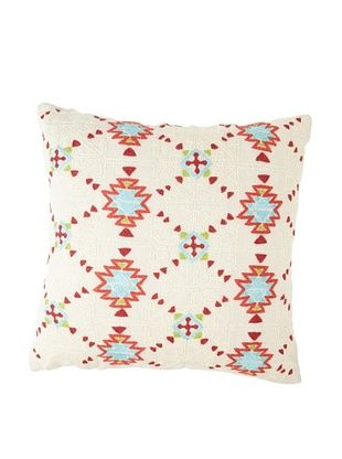 Coyuchi Artisan-Embroidered Linen Pillow, Natural/Multi, 20