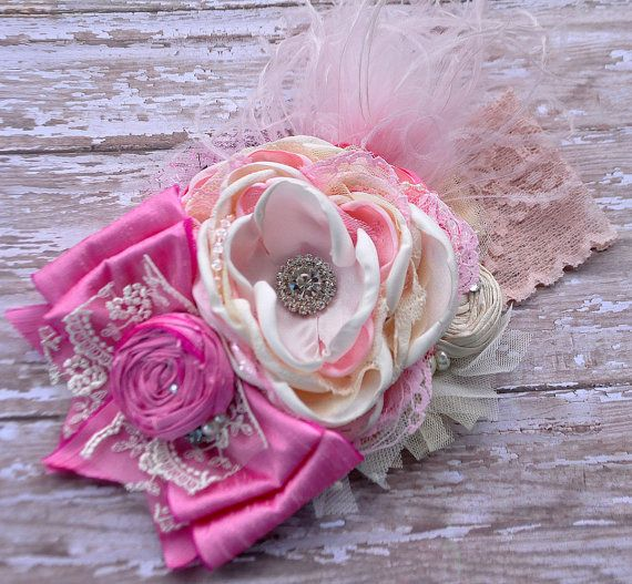 Cheerfully Pink Boutique Couture #headband- Giggle Moon simply beautiful- newborn, toddler, girls- photo prop-special events-wedding #Etsy #MckenzieGraceDesigns $30.00