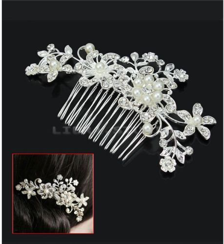 New-Beauty-Bridal-Wedding-Prom-Flower-Silver-Pearls-Sparkling-Hair-Comb-Pin-Clip