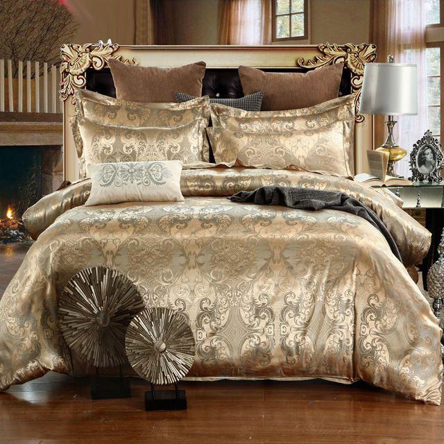 Luxury 4pc. Dark Beige Jacquard Silk Cotton Queen King Duvet Cover Bedding Set #BaoHomeTextiles #Palace