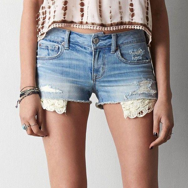 American Eagle Destroyed Lace Hem Shorts ($45) ❤ liked on Polyvore featuring shorts, bottoms, bright medium indigo, frayed shorts, ripped shorts, distressed shorts, american eagle outfitters and pocket shorts