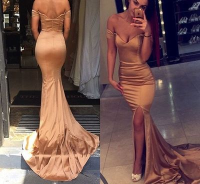 Gold off shoulder long prom dress,mermaid satin long prom dresses with slit ,evening dresses