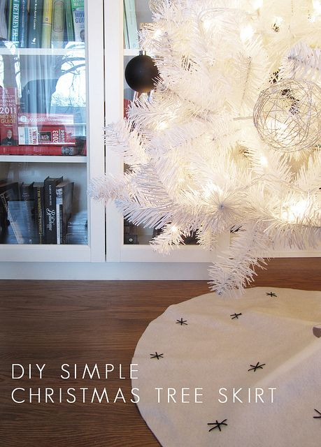 First of all, I NEED to make some string ornaments. Big ones and little ones. They are be done in white, gold or black with/without glitter easily. SECOND of all, I am going to have to make our tree skirt I can already see it coming...