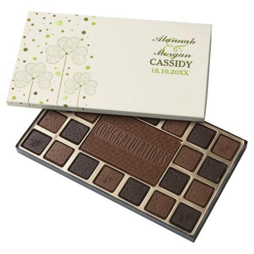 Shamrocks Polka Dots Wedding 45 Piece Assorted Chocolate Box. Customize text.