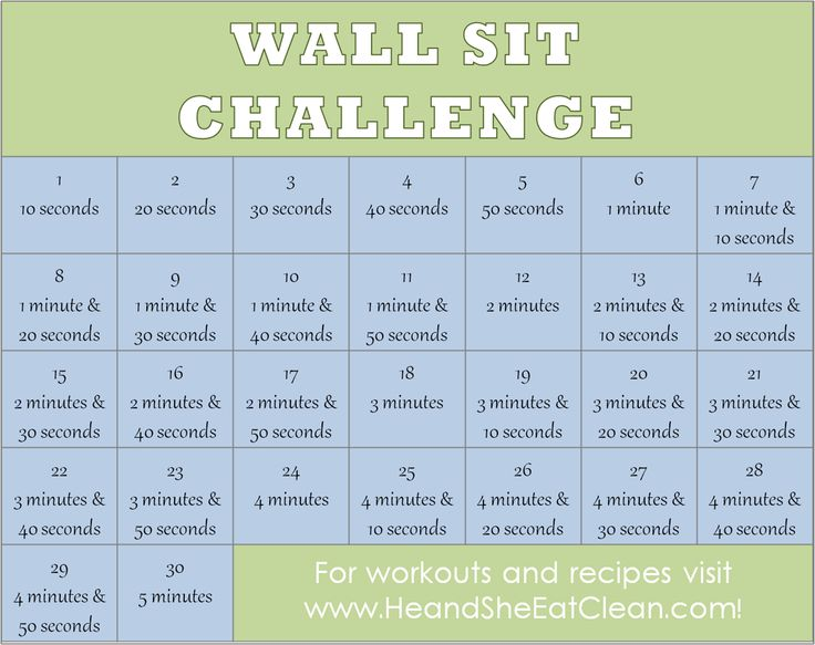 Ready for another challenge?  Try this 30-Day Wall Sit Challenge!  For more workouts and healthy recipes visit HeandSheEatClean.com. #fitness #workout #wallsit #healthy