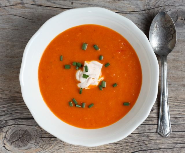 An abundance of red peppers in my garden and a bunch of gorgeous carrots at the farmers' market inspired this simple roasted veggie soup. Get the recipe!