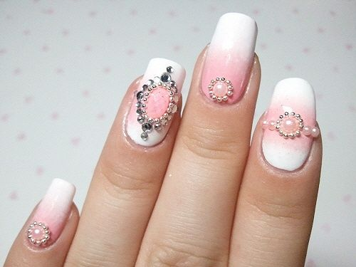 pink and white wedding nails