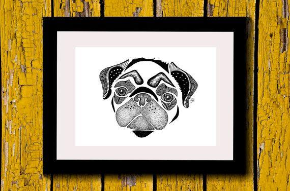 Wall Art, Drawing, Illustration, Zentangle Inspired, Patterns, Art, Print, Home Decor, Modern, Creative, Gift Idea, Dog, Pug, Cute, Animal