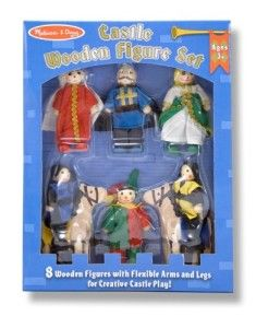 Melissa and Doug Castle Figures Dimensions: 8.5″ x 11″ x 2″. They have  pose-able arms and legs. The set includes a King, Queen, Jester, Nobleman, two Knights and two horses. Ideal for use with our Folding Medieval Castle. http://awsomegadgetsandtoysforgirlsandboys.com/melissa-and-doug-toys/ Melissa and Doug Castle Figures