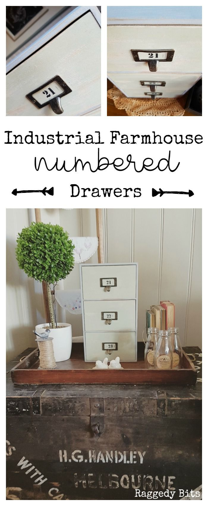 Thrifted drawers transformed into Industrial Farmhouse Numbered Drawers using…