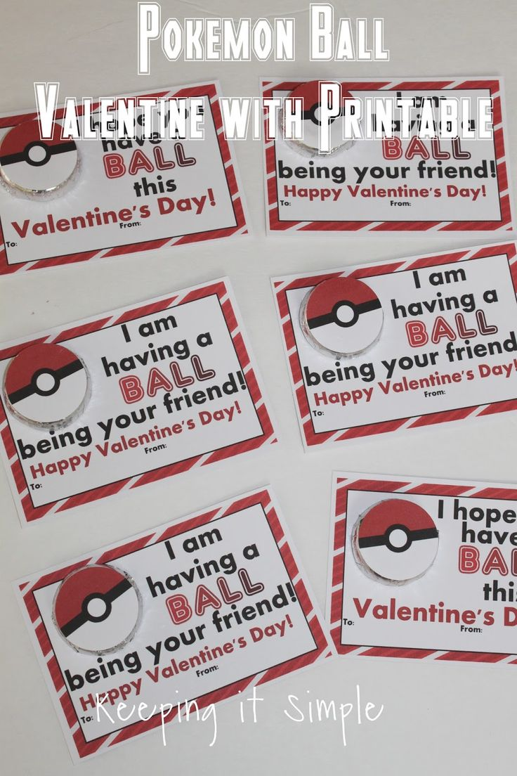 Keeping it Simple: Boys Homemade Valentine- Pokemon Ball with Printable.  taped poke ball print out onto a small peppermint patty.