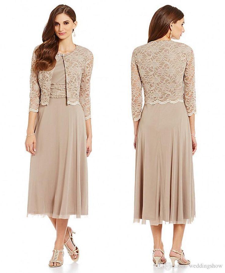 Modest mother of the bride dresses tea length bridesmaid for Wedding dresses near me now