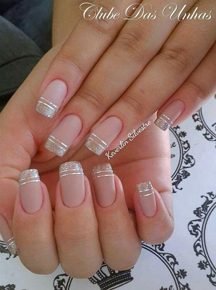 Elegantes Sencillas Y Bonitas En Color Nude Con Plata Nails