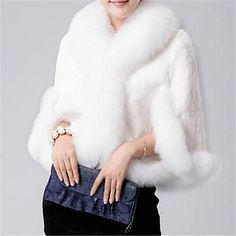 elegante abrigo de piel falsa capa corta de las mujeres - USD $ 48.59