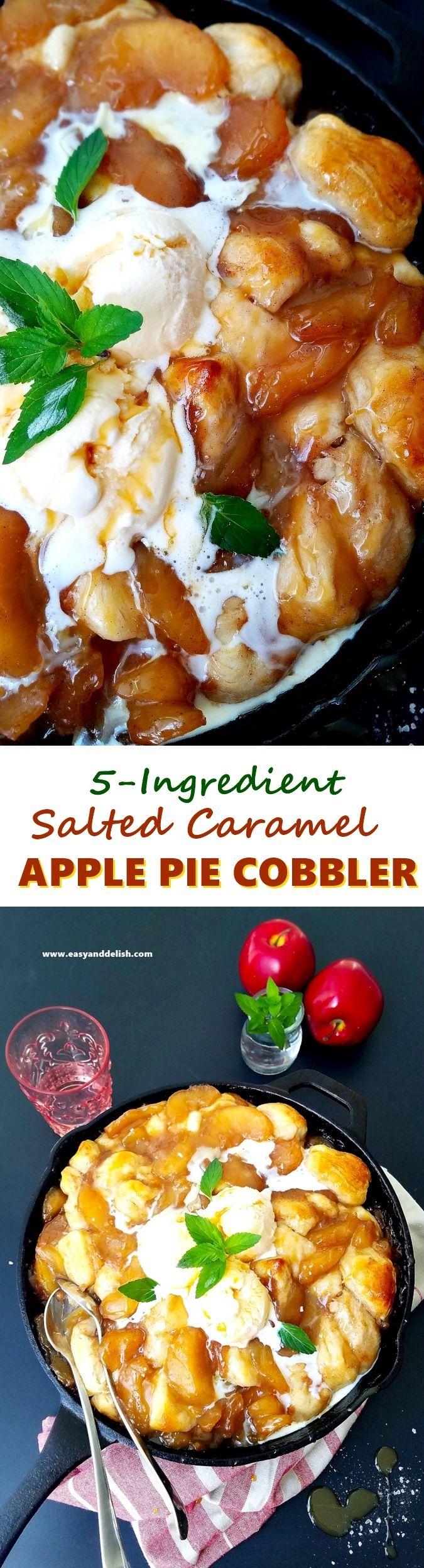 5-Ingredient Salted Caramel Apple Pie Cobbler