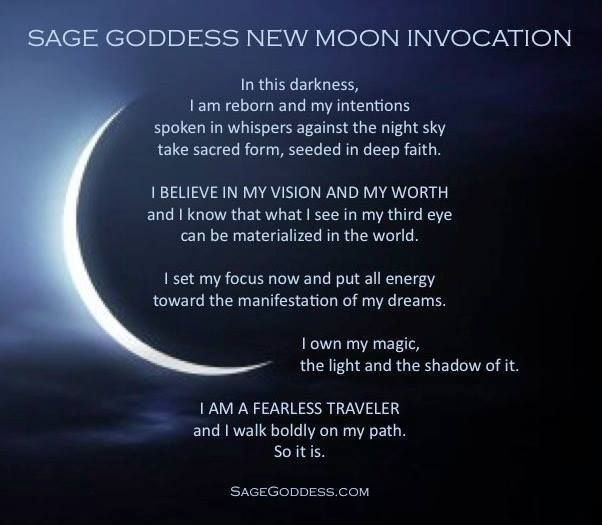 Sage Goddess new moon invocation to help you prepare (and claim) your intentions!