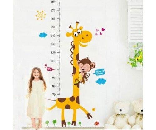 Zsiráf magasságmérő falmatrica, kitűnő ajándék gyerekeseknek, hasznos dekoráció az egész család örömére