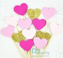 40 stücke glitter Gold rose Rosa herzen Cupcake Topper hochzeit lebensmittel zahnstocher geburtstag baby brautdusche partei picks kuchen dekor(China (Mainland))
