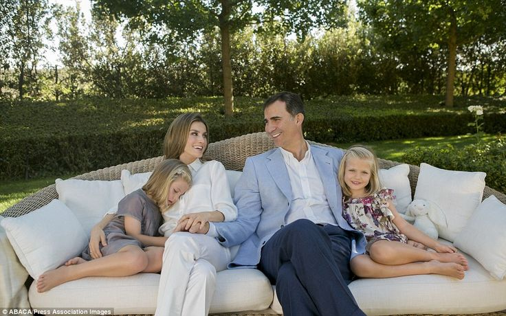 Prince Felipe and Letizia, pictured with their daughters Leonor and Sofia, certainly promote a picture of idyllic family life to the public