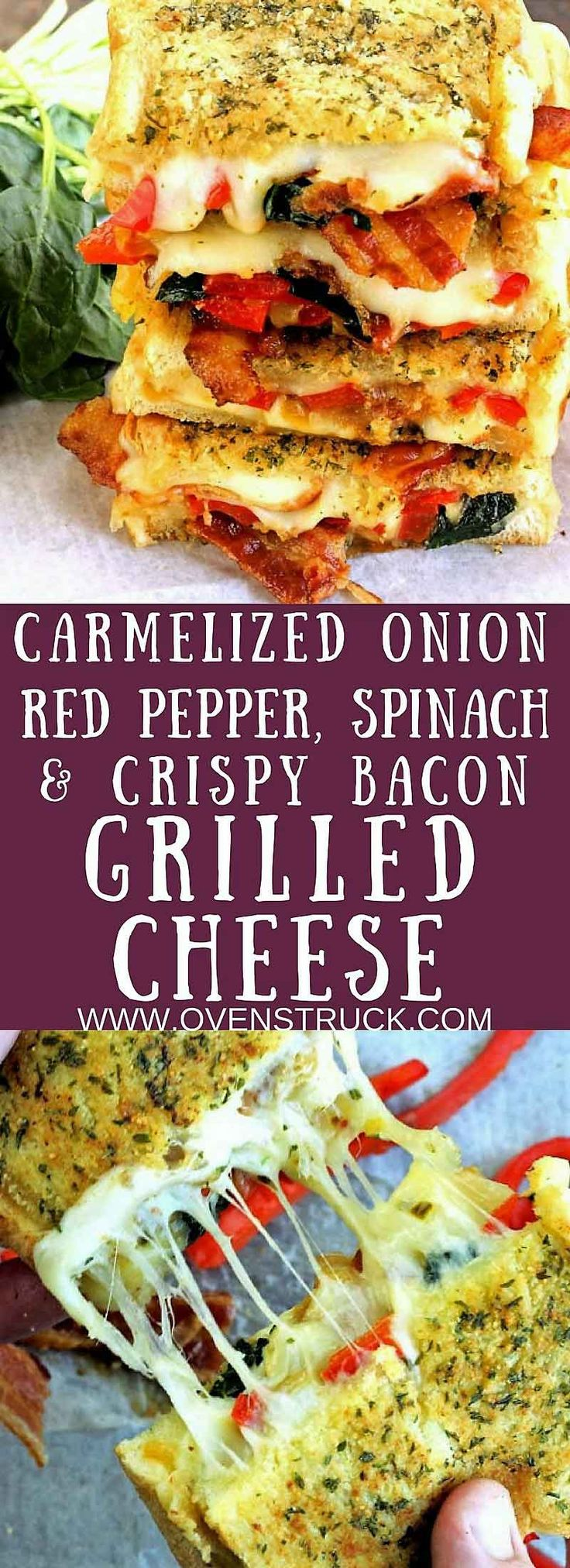 Caramelized onions, sauteed red peppers, and sauteed spinach combine with crispy bacon, pepper jack, and mozzarella cheese for National Grilled Cheese Day!