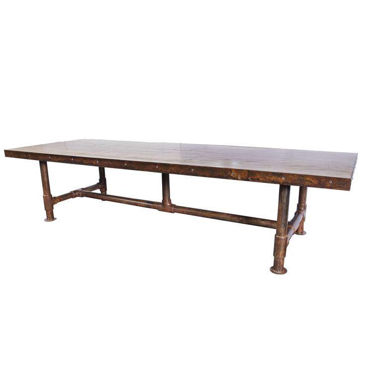 Vintage Bowling Alley Top Dining Table on Scaffolding Pipe Base at 1stdibs
