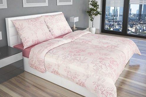 Povlečení Torino charakterizují jemné tóny růžových pruhů na pozadí doplněné o romantický květinový vzor také v růžové barvě.