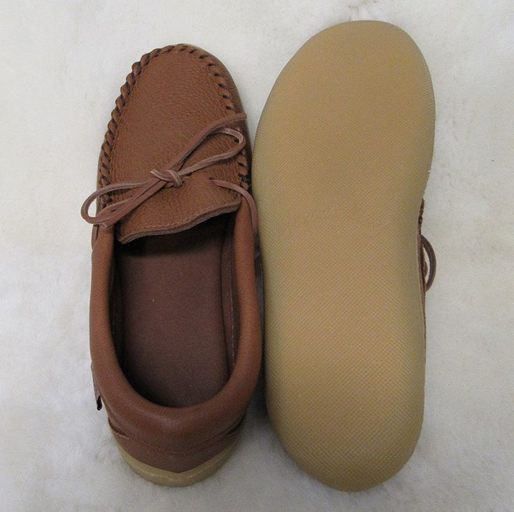 Men's Elk hide driving moccasin with rubber sole, made in Canada by Laurentian Cheif