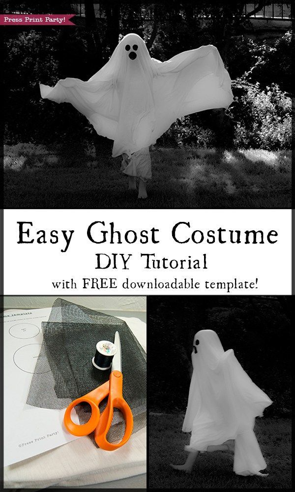 Easy Halloween ghost costume that your kids will want to play with from September to November. With tutorial and free eyes and mouth template. Halloween costume DIY - Free printable By Press Print Party!