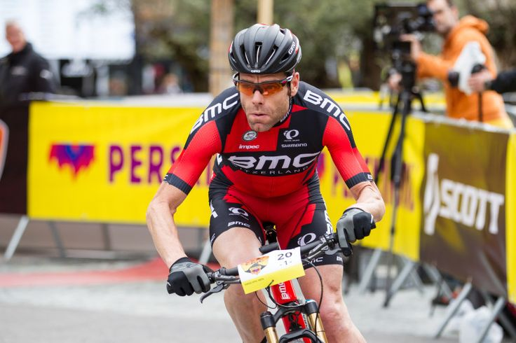 Cadel Evans finishing the Swiss Epic 2015 prolog stage