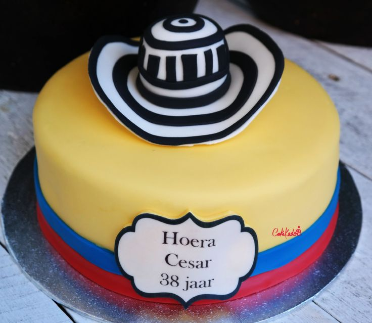 Flag of Colombia cake with fondant sombrero.