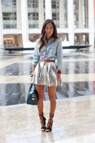LOVE! Aimee Song, NYFWFashion Skirts, Fashion Weeks, Aim Songs, Nyfw Streetstyle, Street Style, Streetstyle Snap, Denim Shirts, Style Icons, Ny Fashion