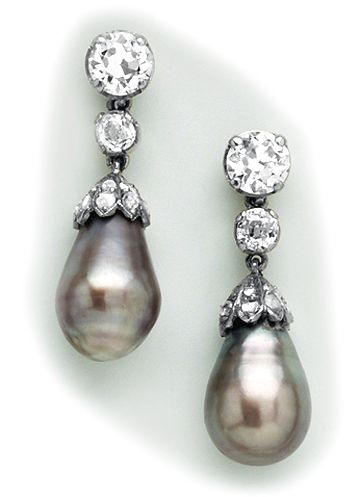 Natural black pearl, diamond, silver and gold drop earrings.