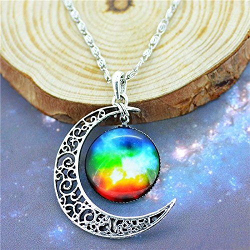 Galaxy Cabochon Hollow Moon Pendant Silver Tone Chain Necklace - Style 9