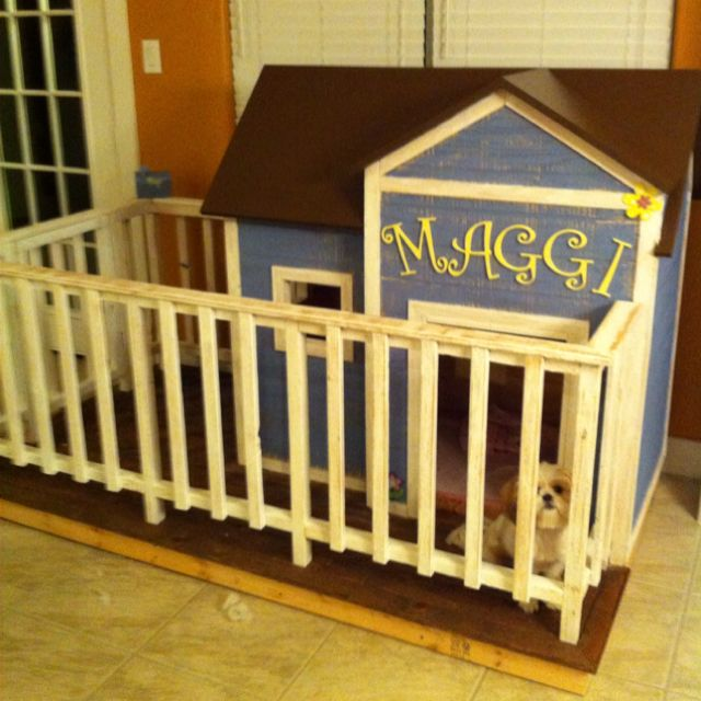 This was a fun project indoor dog house with fenced in for Indoor dog house ideas