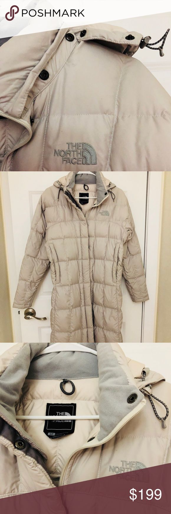 """NORTH FACE METROPOLIS PARKA GOOSE 600 Looks brand new. I don't think I ever wore it. Turned it to be too big for me so if you are taller than 5'2"""" this will look great on you! Light silvery gray color. Fits different sizes. Labeled small women's! Side pockets and detachable hood. Interior zippered pocket. Snaps or zips up front. Super cute! NO LOW BALL OFFERS OR TRADES. 🎁❤️ ships fast! 5 star seller! Retails $389. A steal at this price. Can't lower much. Posh takes a chunk sorry! The North…"""