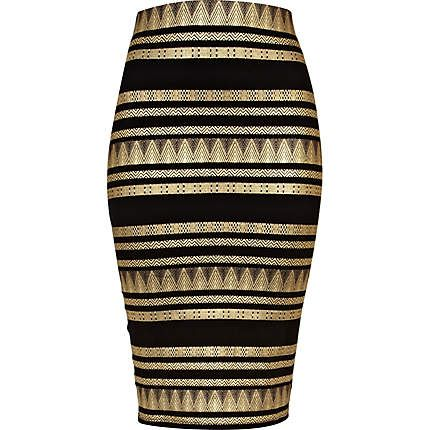 aztec print pencil skirt